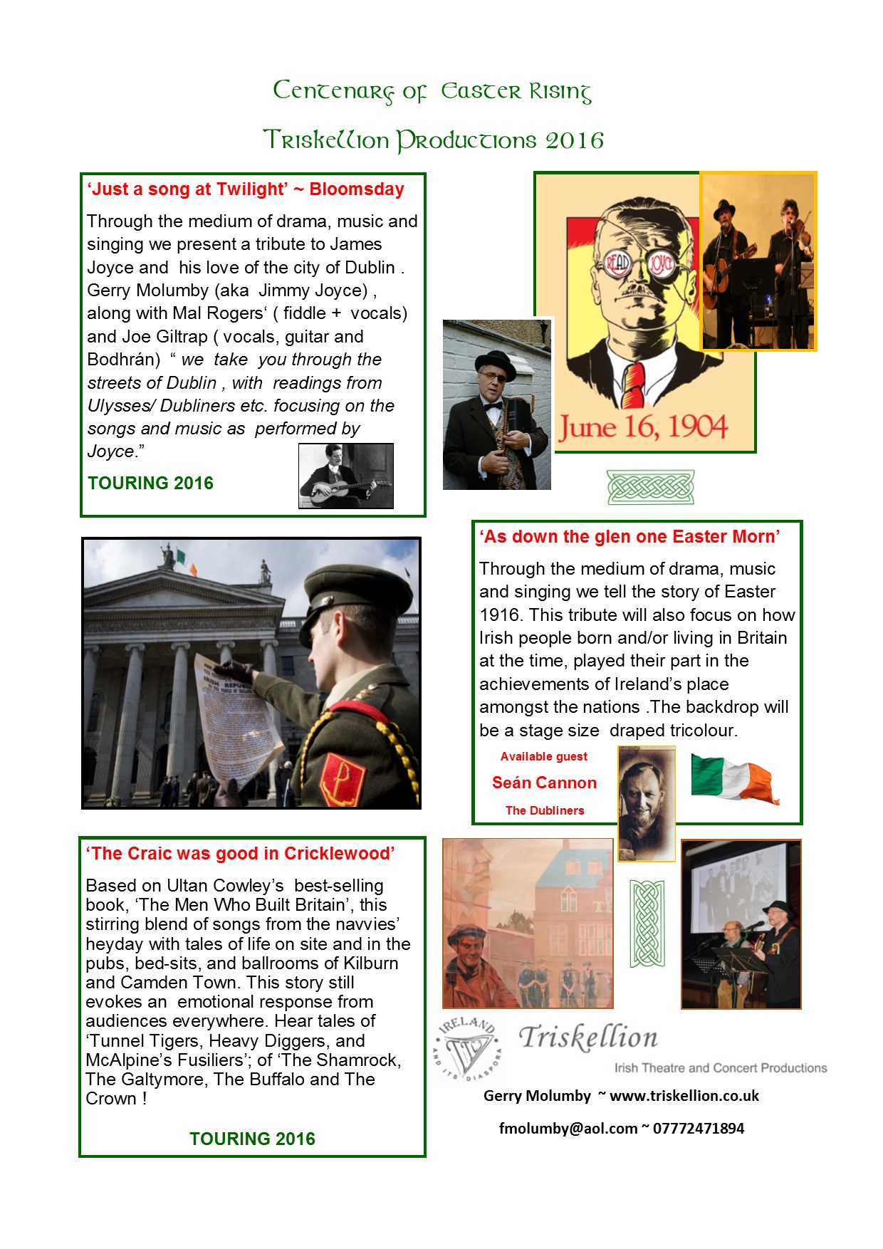 1916 Centenary Cultural Celebrations .Triskellion . Gerry Molumby.