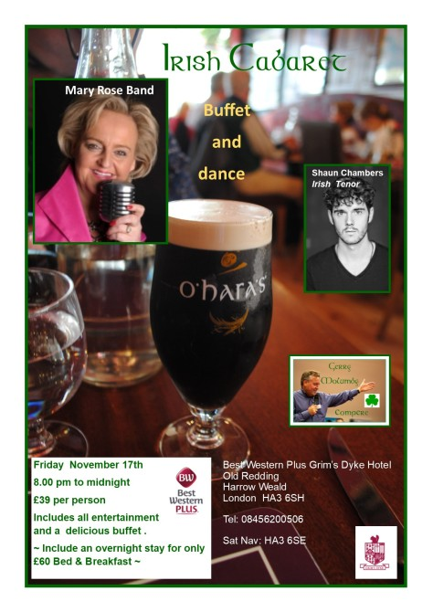 Irish Cabaret and Dance Grim's Dyke Harrow November 17th 2017