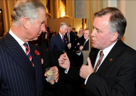 Meeting with Prince Charles at Embassy of Ireland in 2012. We spoke briefly about sharing Irish arts  in Britain .