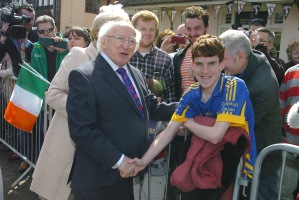 President did a walk about in Stratford upon Avon and met Cormac wearing his Tipperary jersey .Gerry Molumby