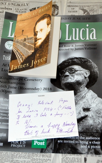 Edna O'Brien writes Bloomsday Greeting  Northampton Letters to Lucia first performance June 16th 2018  (6).JPG