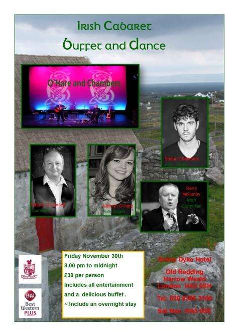 Irish Cabaret and Dance Grim's Dyke Harrow November 30th 2018