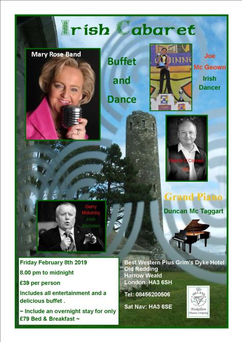 Irish Cabaret and Dance Grim's Dyke Harrow February 8th 2019