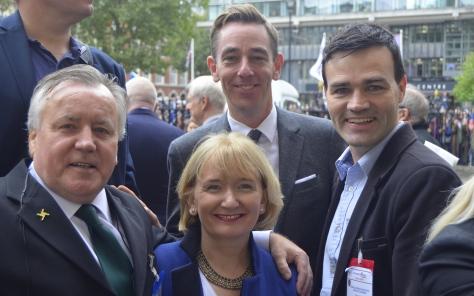 Gerry Molumby Ryan Tubridy and Fiona Mitchell RTE and Ian McDonaald at Terry Wogan Memorial September 27th 2016