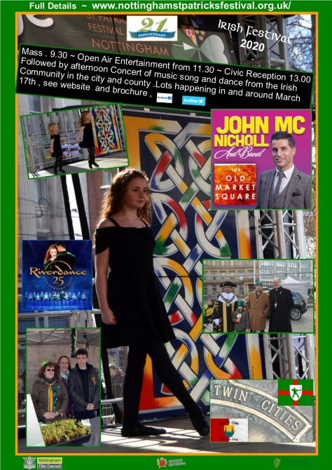 St. Patrick's Festival Nottingham 2020 poster Gerry Molumby